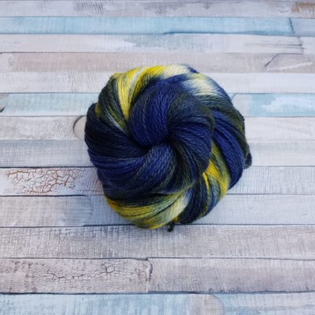 Navy yarn with yellow flashes