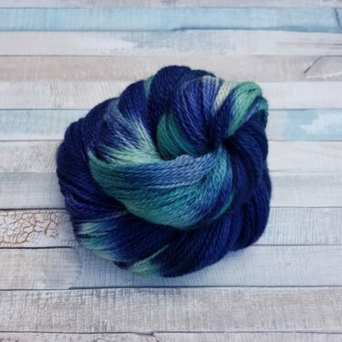 Navy yarn with green flashes