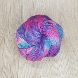 Hydrangea, a pink, purple and blue skein of variegated yarn